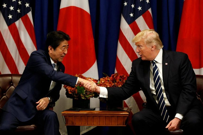 US President Donald Trump meets with Japanese Prime Minister Shinzo Abe during the UN General Assembly in New York.