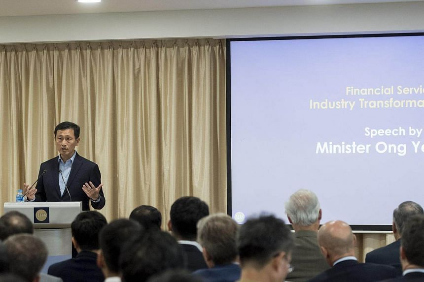 Minister for Education (Higher Education and Skills) Ong Ye Kung at the launch of the financial services industry transformation map.