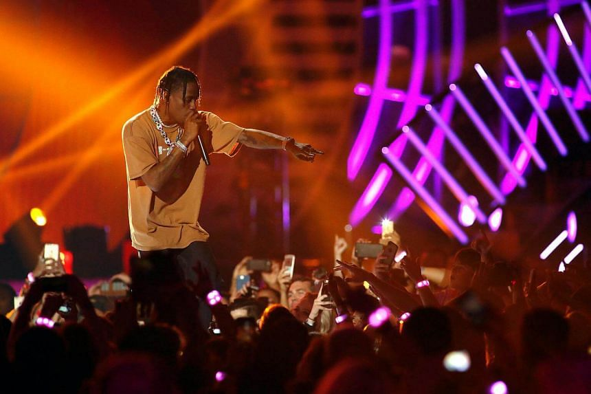 Travis Scott performs during the iHeartRadio Music Festival at T-Mobile Arena in Las Vegas, Nevada.
