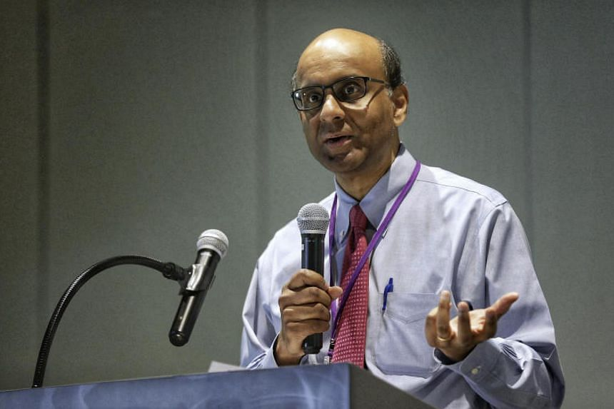 Deputy Prime Minister Tharman Shanmugaratnam speaking at the book launch commemorating the Autism Resource Centre's 20 Years of Service at the Enabling Village on Oct 31, 2017.
