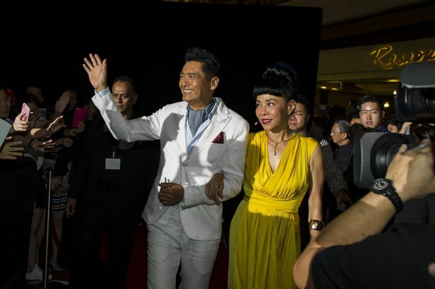 A file photo of Chow Yun Fat with his wife Jasmine at the Cold War 2 gala premiere at The Shoppes at Marina Bay Sands, on July 5, 2016.