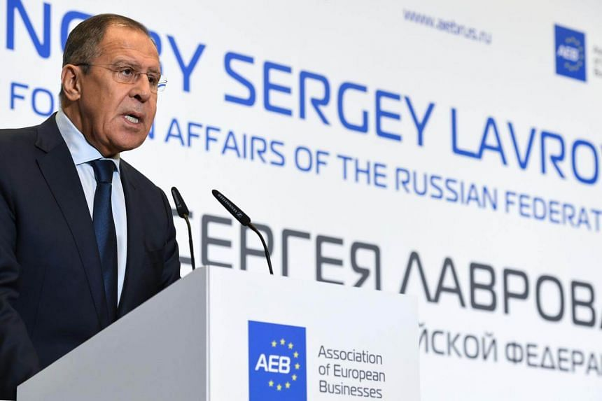 Russian Foreign Minister Sergei Lavrov during a meeting with members of the Association of European Businesses in Moscow on Oct 31, 2017.