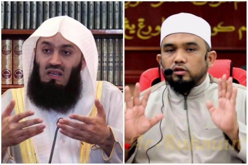 """Zimbabwean Ismail Menk (left) and Malaysian Haslin Baharim were banned from entering Singapore due to their """"hardline teachings""""."""