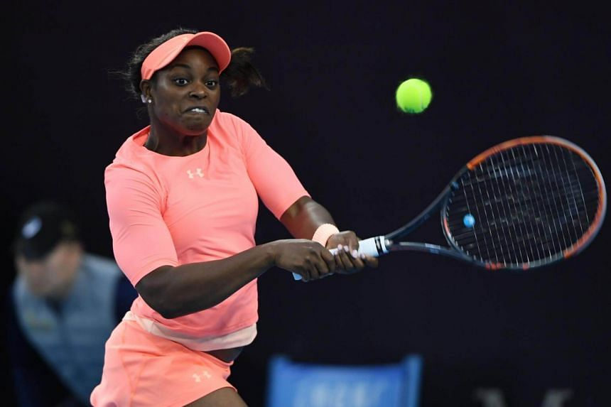 Sloane Stephens of the US during her women's singles match against Christina McHale of the US at the China Open tennis tournament in Beijing on Oct 2, 2017.