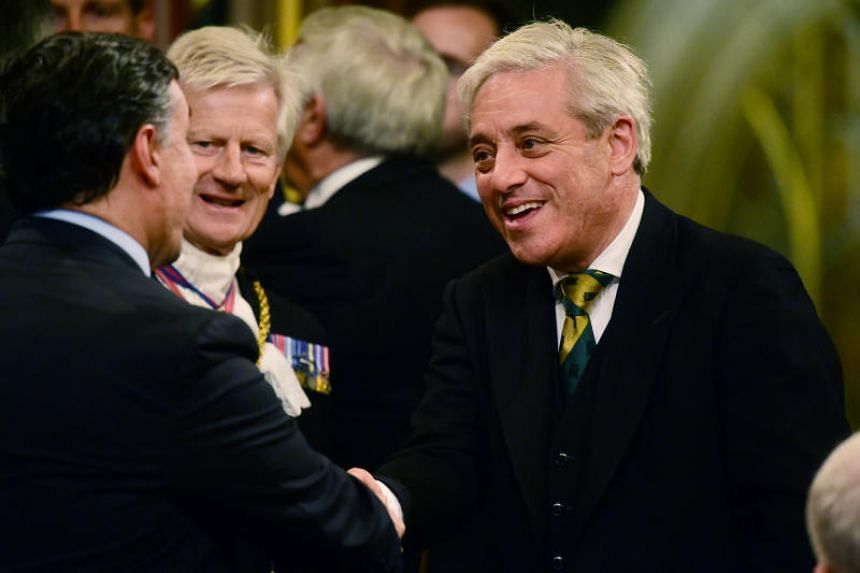 John Bercow, Speaker of the House of Commons, shakes hands with Britain's Secretary of State for International Trade Liam Fox ahead of a speech from Spain's King Felipe at the Palace of Westminster in London, Britain on July 12, 2017.