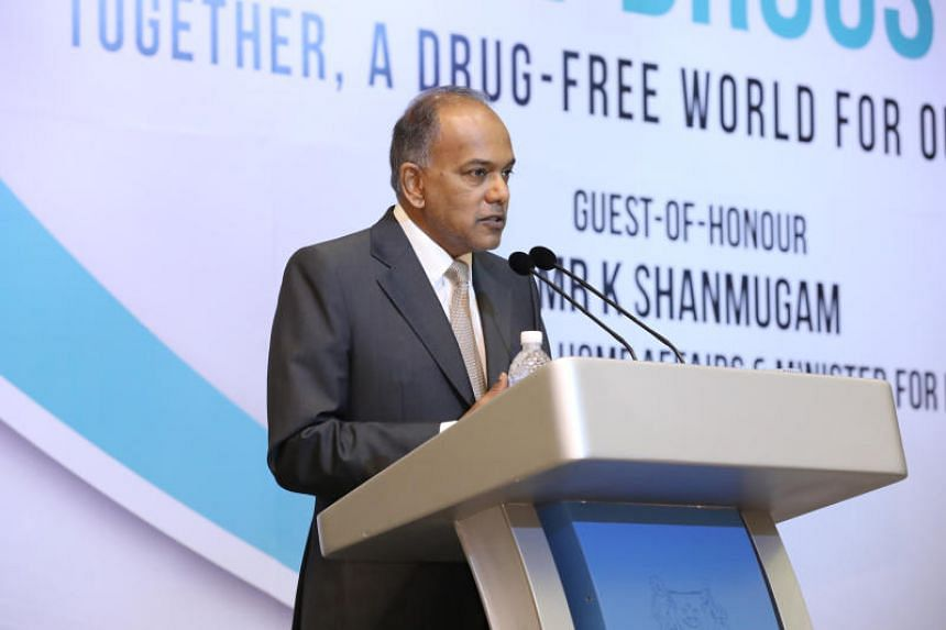 Home Affairs and Law Minister K. Shanmugam giving his opening address at the second Asia-Pacific Forum Against Drugs at the ParkRoyal hotel in Beach Road on Oct 26, 2017.