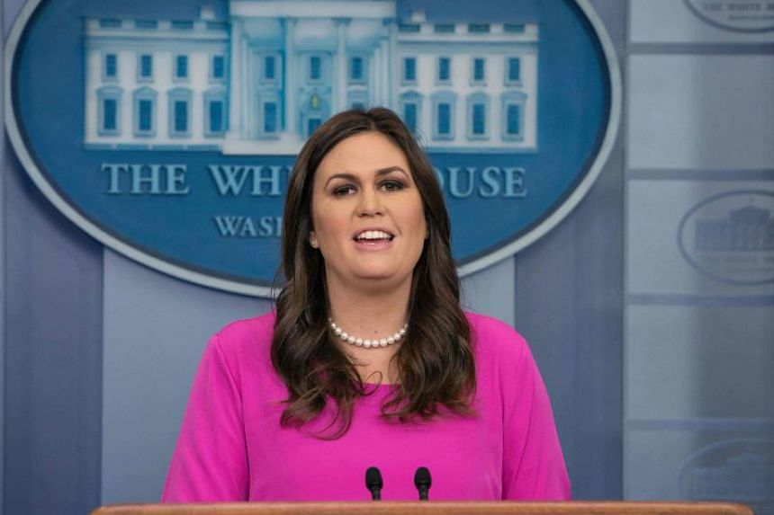 White House spokesperson Sarah Huckabee Sanders speaks during the press briefing at the White House in Washington, DC, on Oct 30, 2017.