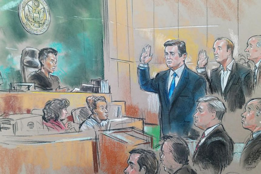 Former Trump 2016 campaign chairman Paul Manafort and former campaign official Rick Gates appear in front of US Magistrate Deborah A. Robinson in US Federal Court in Washington, US on Oct 30, 2017.