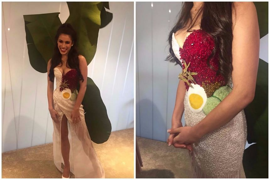 Miss Universe Malaysia Samantha Katie James will be wearing this nasi lemak-inspired dress at next month's competition in Las Vegas.