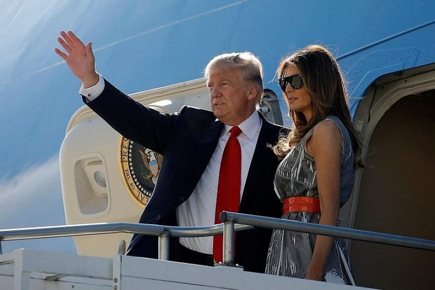 President Donald Trump and his wife, Melania, departing from Hamburg, Germany, in July.