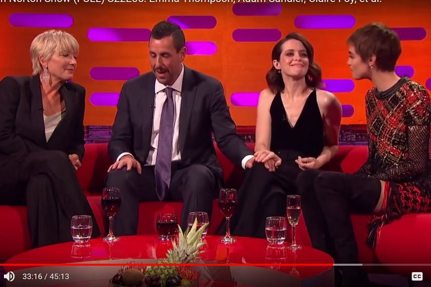 (From left) Actress Emma Thompson, actor Adam Sandler, actress Claire Foy and model Cara Delevingne on The Graham Norton Show.