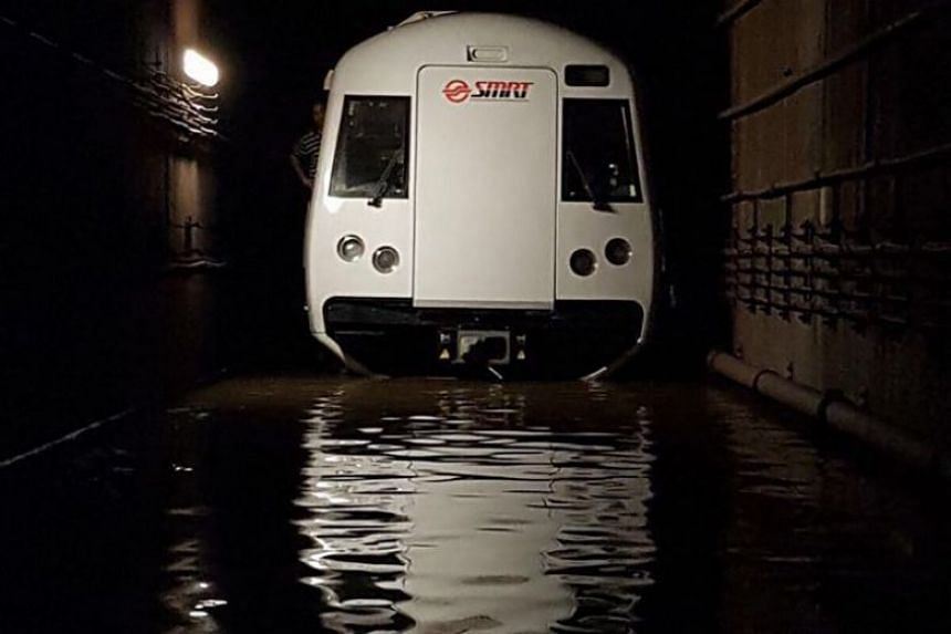 A malfunction in the water pumping system at Bishan MRT station caused rainwater to collect in the MRT tunnel, resulting in train service disruption on Oct 7 and 8.