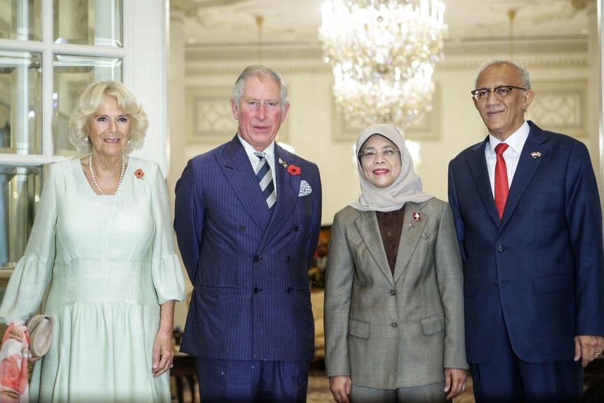 (From left) Camilla, the Duchess of Cornwall, Prince Charles, President Halimah Yacob and Mr Mohamed Abdullah Alhabshee at the Istana on Oct 31, 2017.