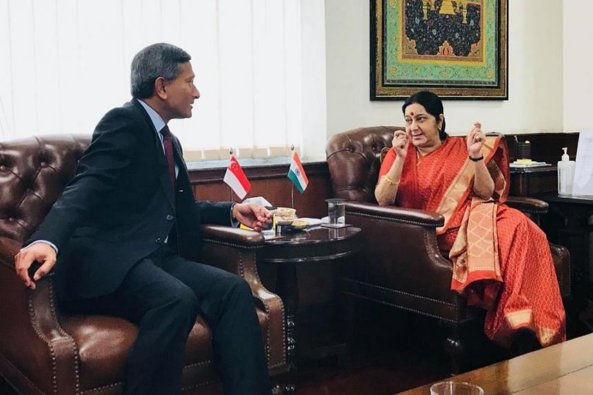 Dr Balakrishnan with India's External Affairs Minister Sushma Swaraj, in a photo from his Facebook post.