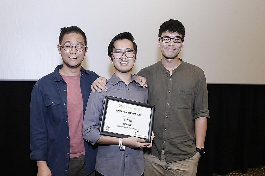 Chiak stars Danny Lim (above left) and Johnson Lim, and is created by (from far left) Mr Joshuah Lim, Mr Wesley Lim and Mr Alvin Lim.
