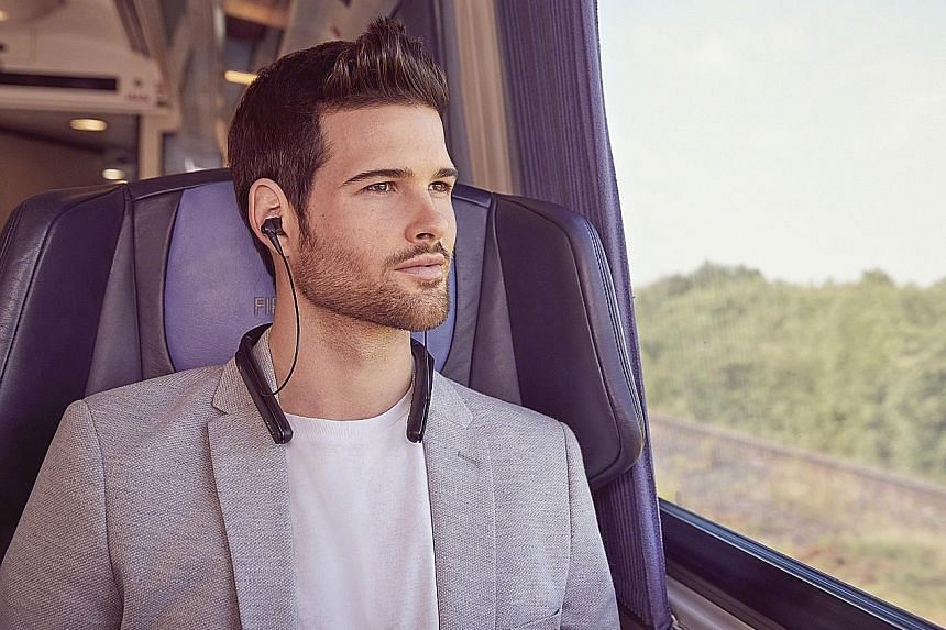 The WI-1000x in-ear earphones have a neckband-style design. The neckband stores not just the battery pack that powers Sony's active noise-cancelling technology, but also the Bluetooth chip and a host of buttons.