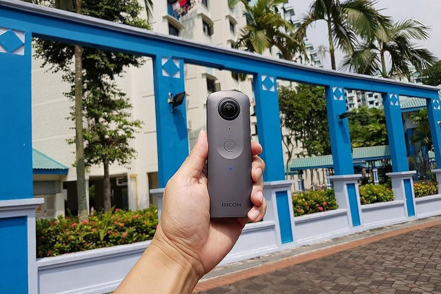 The Theta V has a slim candy-bar body, with a 180-degree lens on both its front and back. With it, you can capture a 360-degree shot.