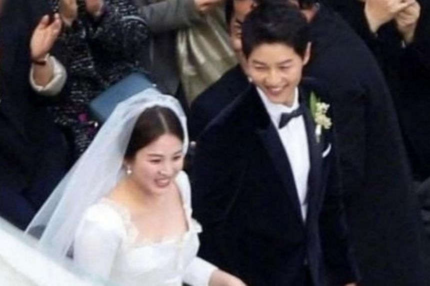 Song Hye Kyo, 35, and Song Joong Ki, 32, married after playing lovers in the 2016 military romance Descendants Of The Sun.