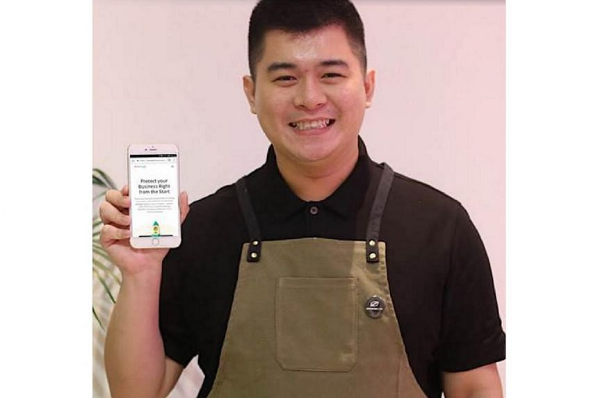Mr Keyis Ng, CEO and co-founder of speciality coffee e-tailer Cafebond.com, with the Start.Sure app on his smartphone.