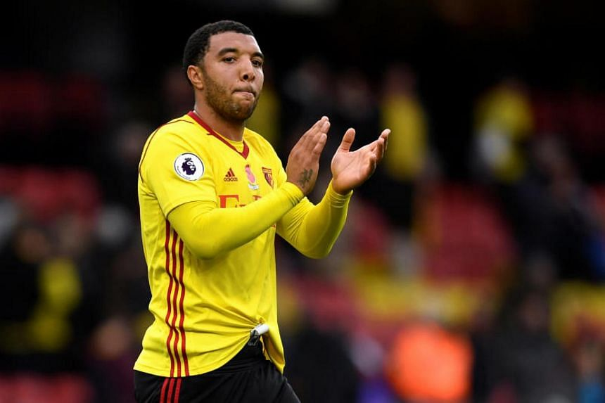 Watford's Troy Deeney applauds the fans at the end of the Watford vs Stoke City match at Vicarage Road, Watford, Britain on Oct 28, 2017.