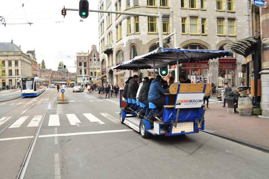 Beer bicycles have become a popular way - especially for tourists celebrating group events, such as stag parties - to travel around Amsterdam.