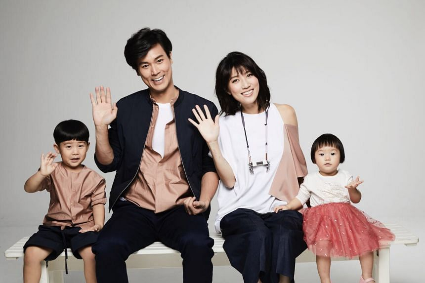 Andie Chen and Kate Pang with their children. Chen and Pang are moving on to the next stage of their careers with the blessings of Mediacorp.