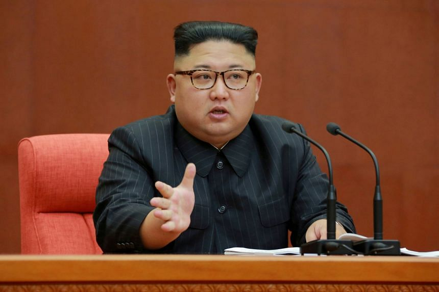 A file photo of North Korean leader Kim Jong Un speaking at the Second Plenum of the 7th Central Committee of the Workers' Party of Korea.