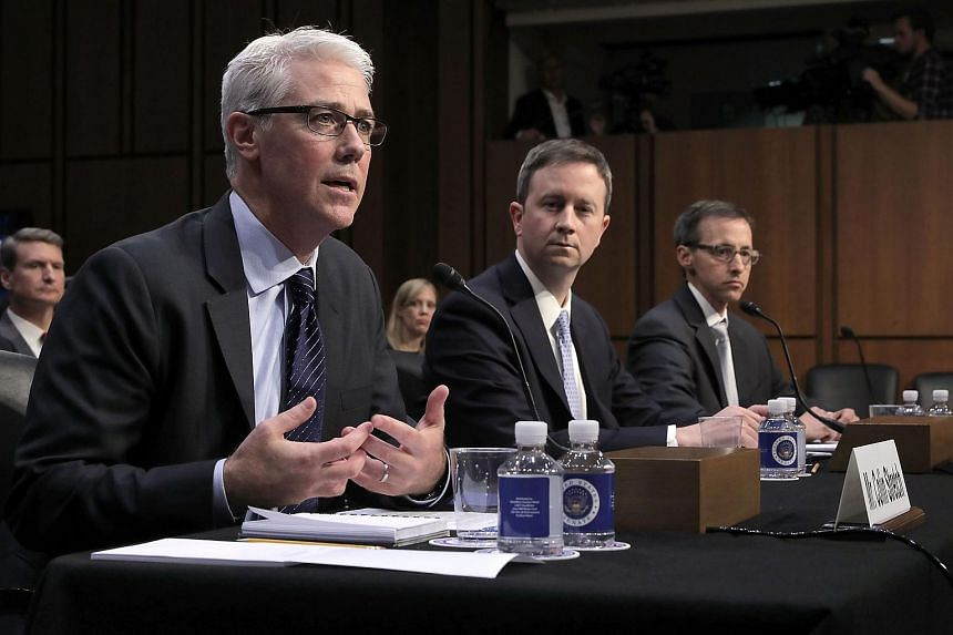 (From left) Facebook's General Counsel Colin Stretch, Twitter's Acting General Counsel Sean Edgett, and Google's Law Enforcement and Information Security Director Richard Salgado testify before the Senate Judiciary Committee's Crime and Terrorism Sub