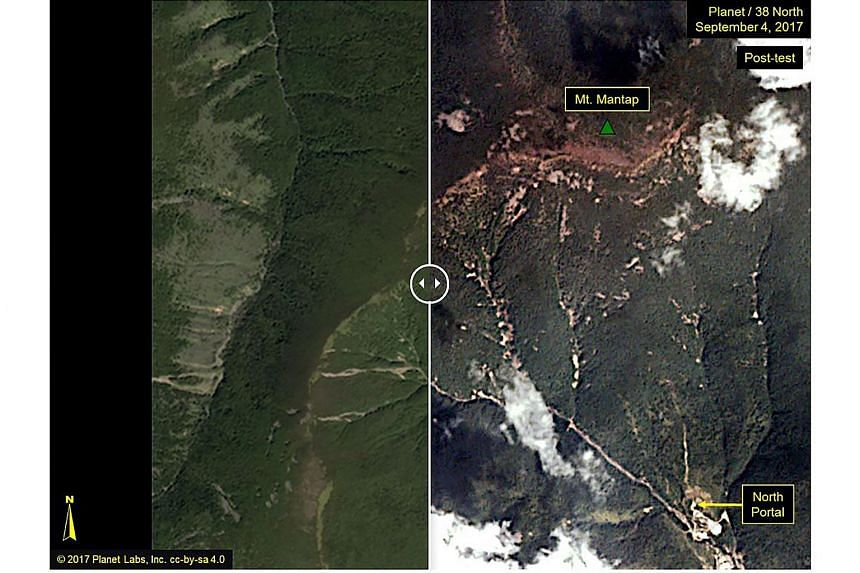 These before-and-after images show the Punggye-ri test site where North Korea claimed to have conducted an underground explosion of a hydrogen bomb.