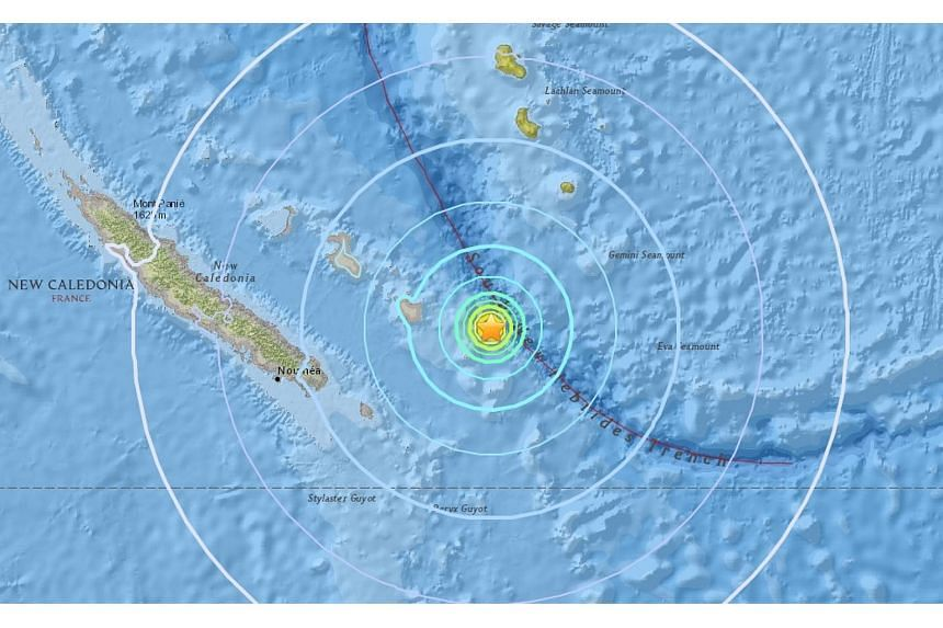 The earthquake that struck near New Caledonia measured 6.4 on the Richter Scale.