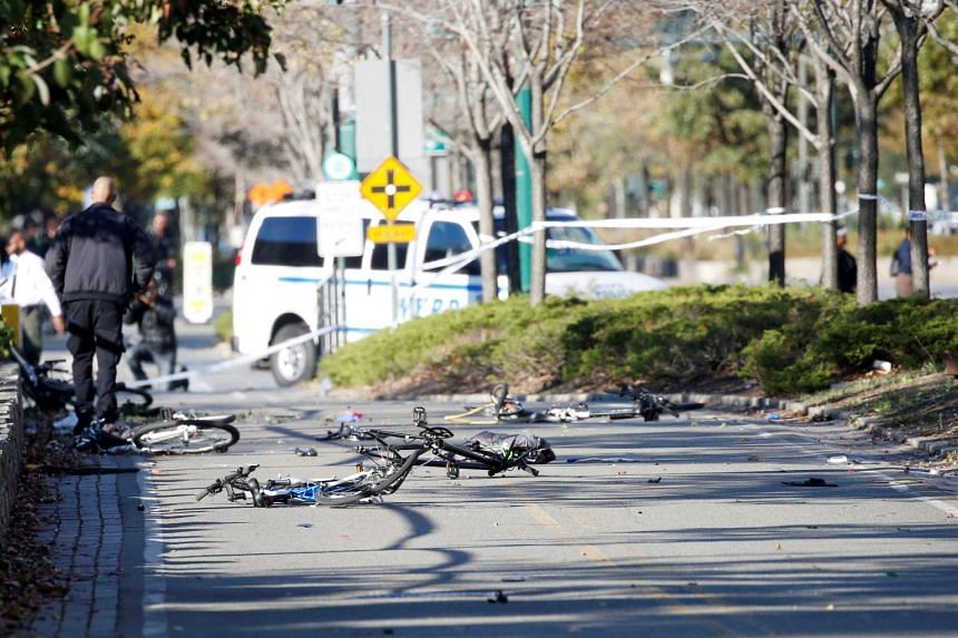 Multiple bikes are crushed along a bike path in Lower Manhattan in New York.