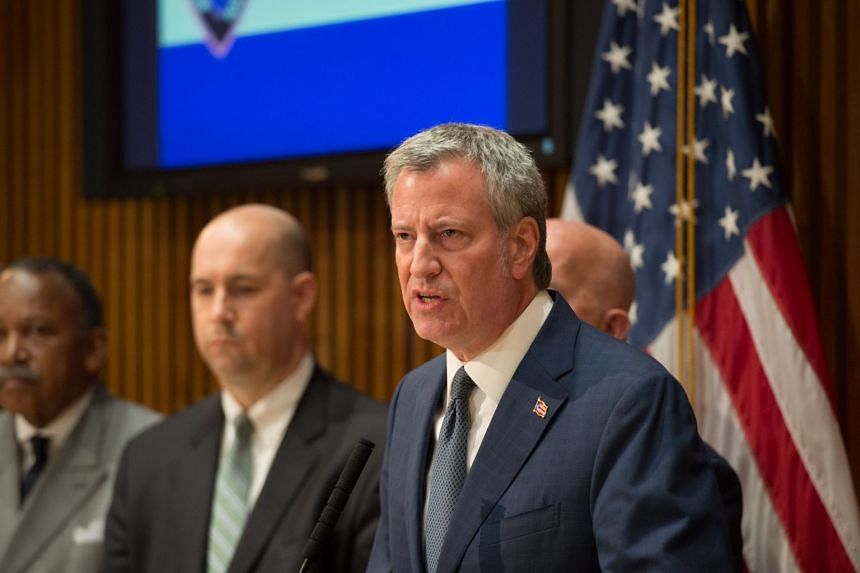 Bill de Blasio speaks at a news conference regarding the truck attack that left at least eight dead.