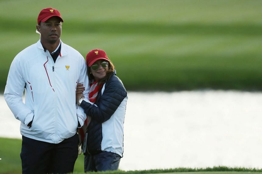 Tiger Woods and wife Erica Herman during the Presidents Cup in New Jersey, Sept 30, 2017.