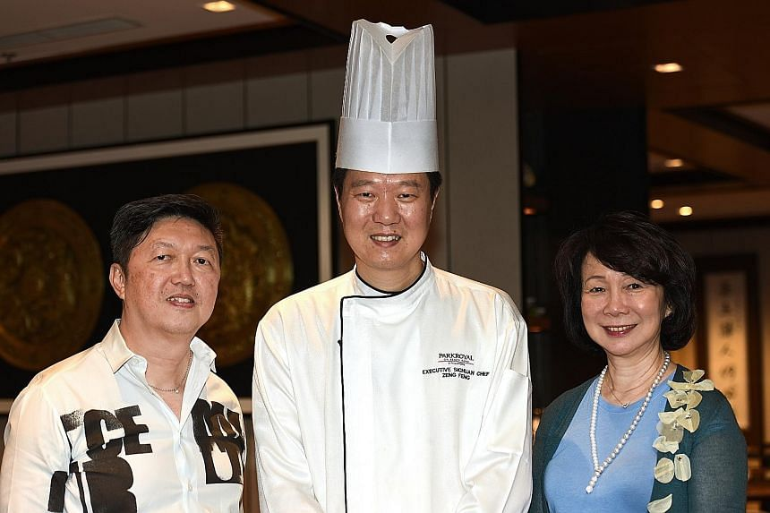 Hosted by The Straits Times' food critic Wong Ah Yoke (left) and Ms Wee Wei Ling (right), executive director of Si Chuan Dou Hua Restaurant, the eight-course dinner is prepared by executive chef Zeng Feng (centre). Dishes include the stir-fried Kurob