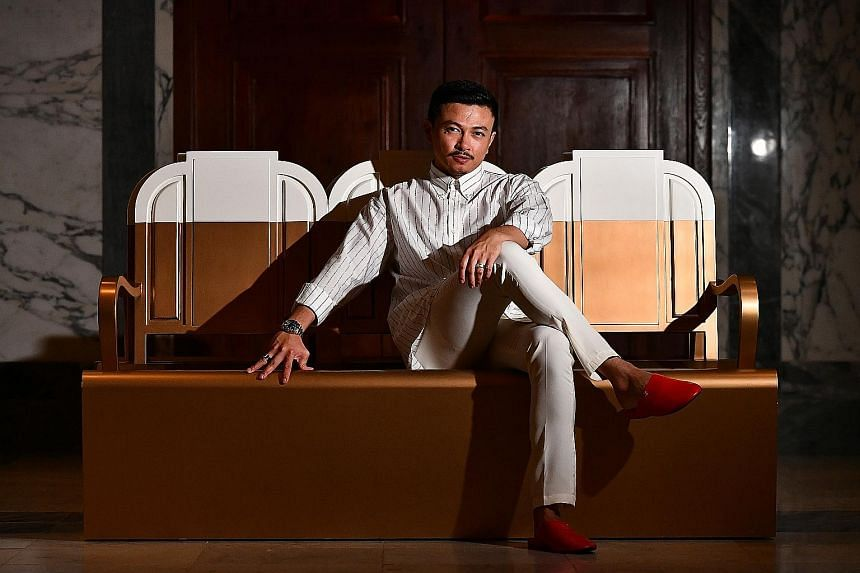 """""""Femininity is cliched in Muslimah wear."""" - MALAYSIAN DESIGNER JOVIAN MANDAGIE (above), who put together an eight-piece streetwear collection, titled Against Barricades, for Singapore Fashion Week"""