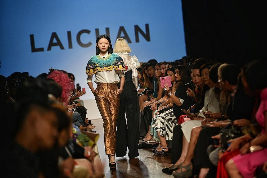 An outfit by Singapore couturier Goh Lai Chan at Singapore Fashion Week.