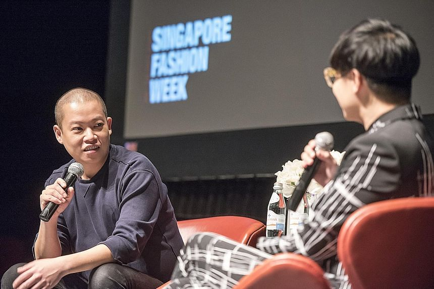Designer Jason Wu (left) at a Zipcode talk with moderator Kenneth Goh, editor-in-chief of Harper's Bazaar Singapore.