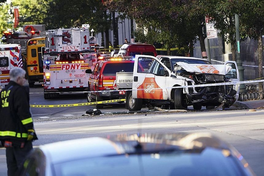 The truck allegedly used by Sayfullo Saipov to hit pedestrians in New York City on Tuesday. He was shot in the abdomen by police but survived and was taken into custody. He left notes in Arabic saying that the Islamic State in Iraq and Syria would en