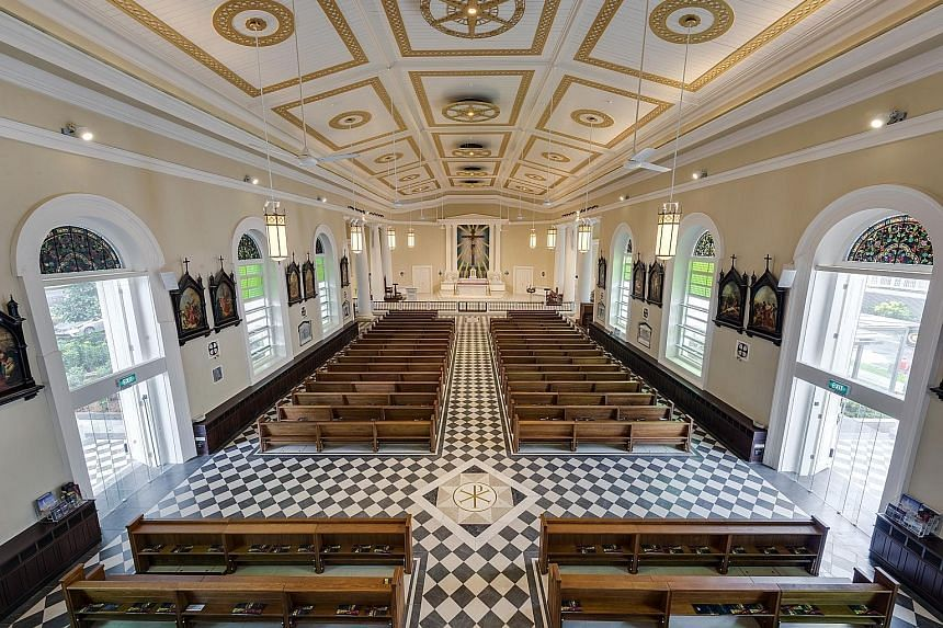 Above: The Cathedral of the Good Shepherd received an honourable mention at the Unesco Asia-Pacific awards for Cultural Heritage Conservation. Left: A view of the church's nave from the choir loft.