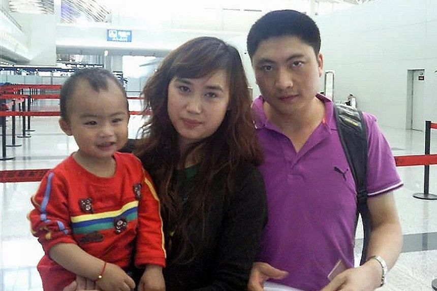 Chinese national Gu Ziqiang, his wife Kong Ling Hui and their older son Gu Sifan in 2010. Mr Gu, who was working in Singapore as a bus driver, had slipped into a coma after being admitted for day surgery in 2012 to treat a nasal obstruction.
