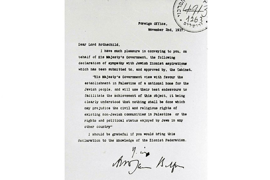 A copy of the Balfour Declaration dated Nov 2, 1917.