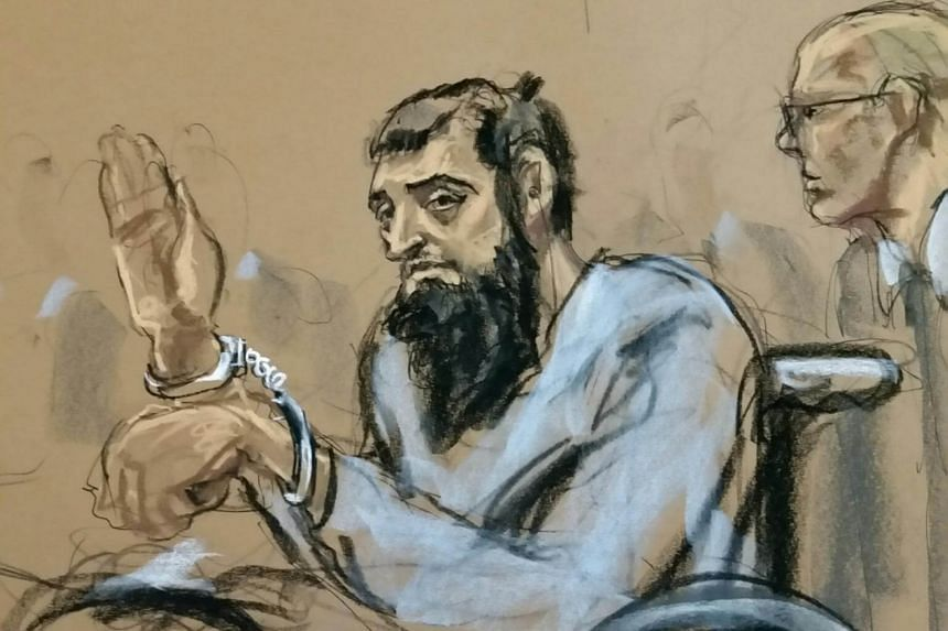 Sayfullo Saipov appears in Manhattan federal courtroom in a wheelchair in New York.