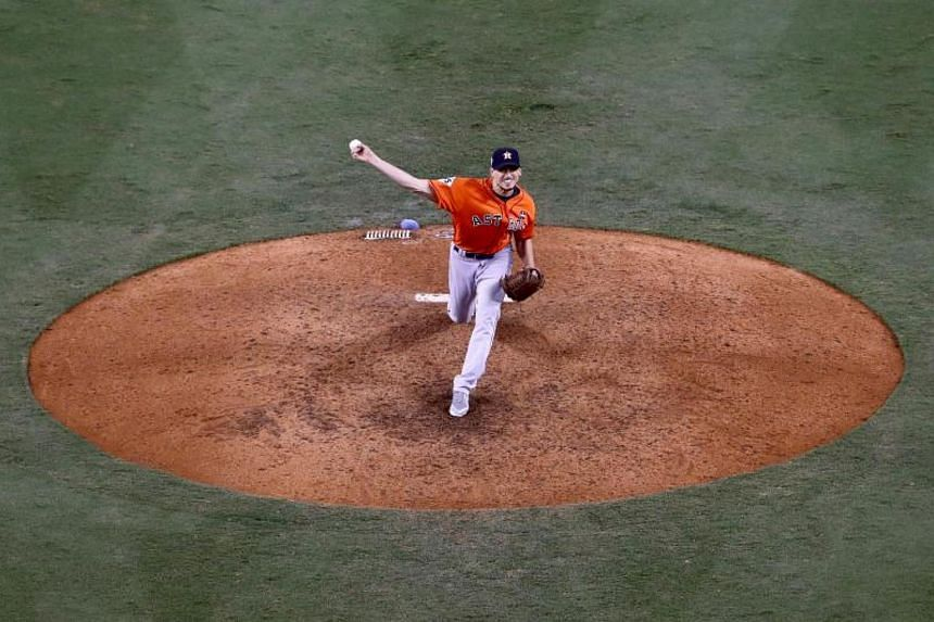 Charlie Morton of the Houston Astros pitches during the ninth inning against the Los Angeles Dodgers during the 2017 World Series at Dodger Stadium on Nov 1, 2017.