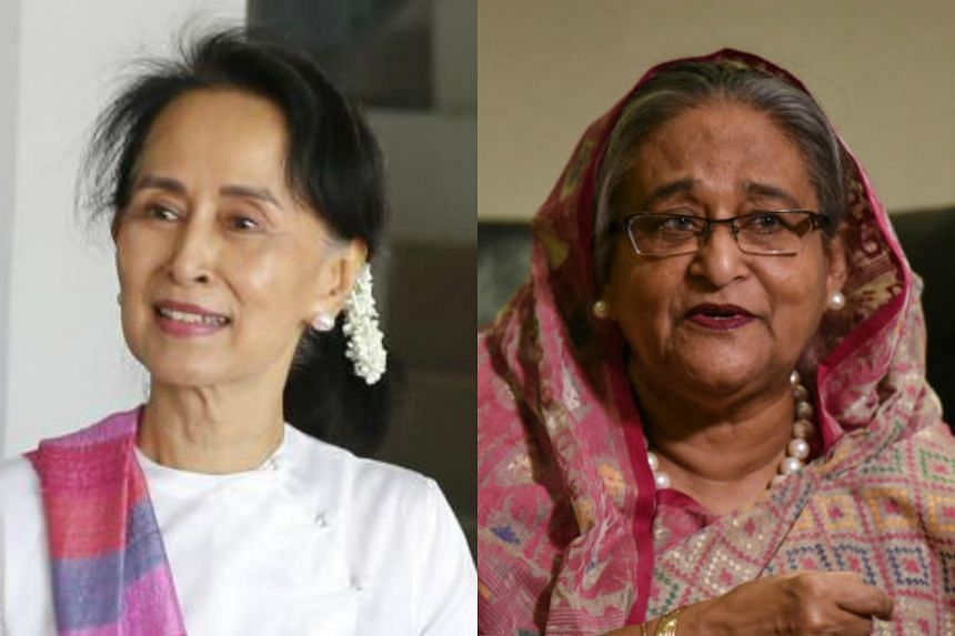 (From left) Nobel laureate Aung San Suu Kyi fell seven spots to 33, while Bangladesh prime minister Sheikh Hasina Wajed moved up six places from last year's 36th spot.