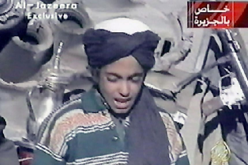 A boy thought to be Osama Bin Laden's son Hamza is seen in a frame grab from an Al-Jazeera video.