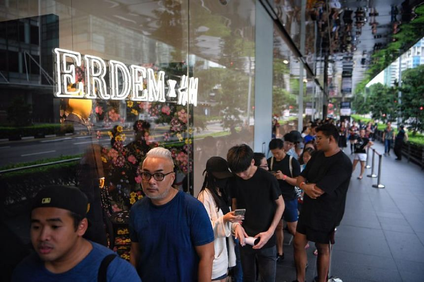 The queue before the doors open during the launch of the H&M X Erdem designer collaboration collection at H&M Orchard Building on Nov 2, 2017.