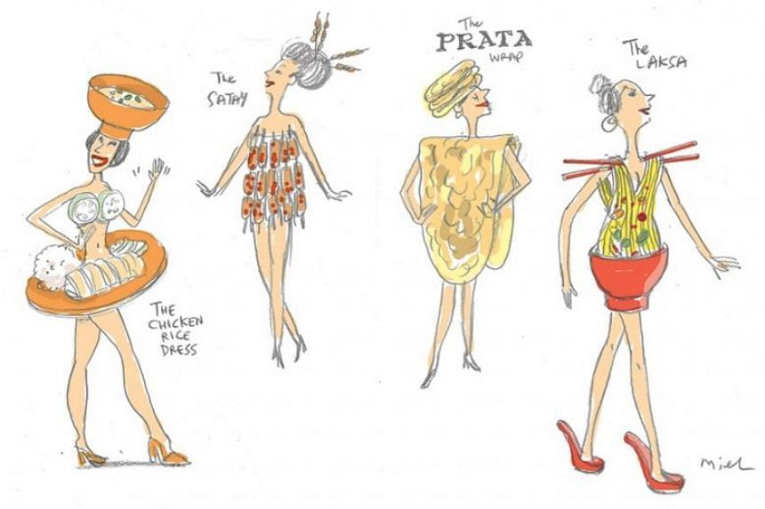 Straits Times artist Miel came up with four wacky designs based on local favourite dishes chicken rice, satay, roti prata and laksa.