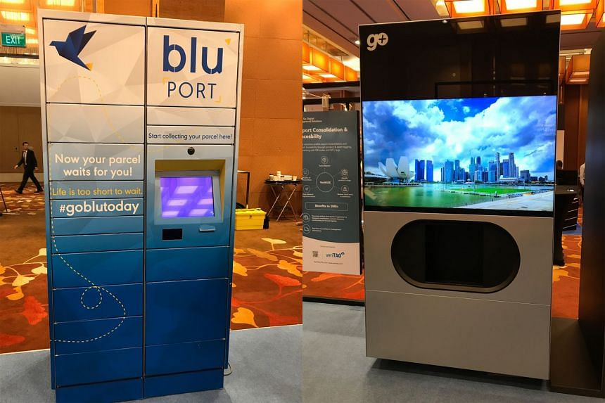 Logistics firm blu operates 49 bluPort lockers (left) islandwide, mostly at petrol kiosks, malls and Cheers convenience stores, while Go Plus has developed a locker with biometric verification capabilities (right). The two local start-ups are hoping