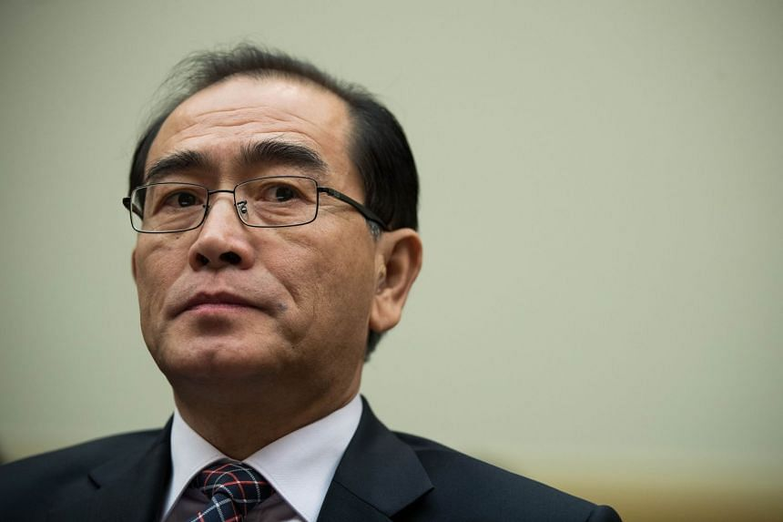 Thae Yong-ho testifies during a House Foreign Affairs Committee hearing, Nov 1, 2017 in Washington, DC.