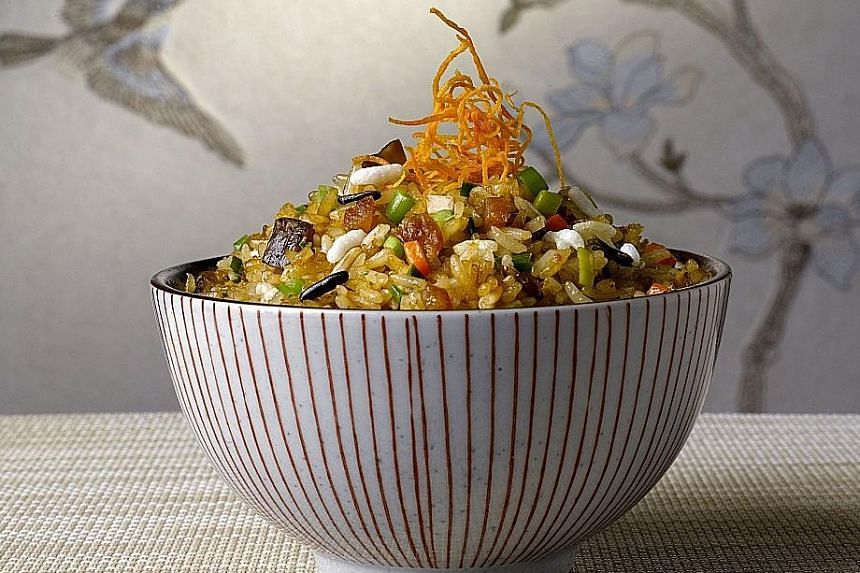 Five grain fried rice with Cantonese pork sausage and vegetables at Mandarin Oriental Singapore